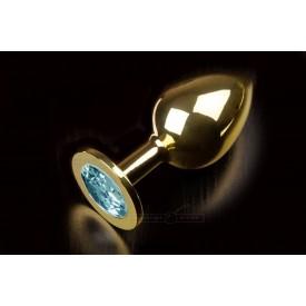 Большая золотая анальная пробка с закругленным кончиком и голубым кристаллом - 9 см..