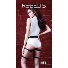 Чёрные кожаные гартеры Heidi